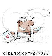 Royalty Free RF Clipart Illustration Of A Running Male Black Doctor With A Syringe And Word Balloon
