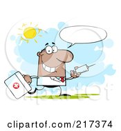 Royalty Free RF Clipart Illustration Of A Running Male Black Doctor With A Syringe And Text Balloon