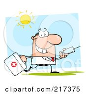 Royalty Free RF Clipart Illustration Of A Running Caucasian Male Doctor With A Syringe