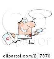 Royalty Free RF Clipart Illustration Of A Running Male Caucasian Doctor With A Syringe And Word Balloon by Hit Toon