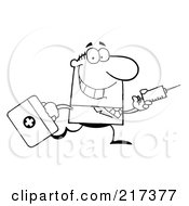 Royalty Free RF Clipart Illustration Of An Outlined Running Male Doctor With A Syringe