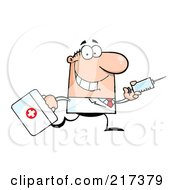 Royalty Free RF Clipart Illustration Of A Running Male Caucasian Doctor With A Syringe