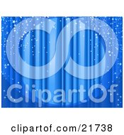 Clipart Picture Illustration Of A Spotlight Shining On Closed Blue Stage Curtains With Sparkling Confetti Falling Over The Stage by Tonis Pan #COLLC21738-0042