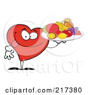 Red Heart Carrying A Fruit Tray by Hit Toon