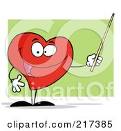 Royalty Free RF Clipart Illustration Of A Red Heart Holding A Pointer Stick