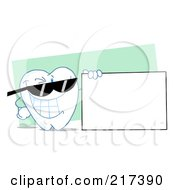 Royalty Free RF Clipart Illustration Of A Tooth Character Wearing Shades And Holding A Blank Sign