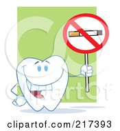 Royalty Free RF Clipart Illustration Of A Tooth Character Holding A No Smoking Sign