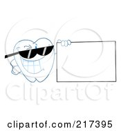 Royalty Free RF Clipart Illustration Of A Dental Tooth Character Wearing Shades And Holding A Blank Sign