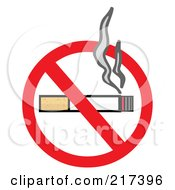 Royalty Free RF Clipart Illustration Of A Smoking Cigarette On A No Smoking Sign