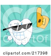 Royalty Free RF Clipart Illustration Of A Dental Tooth Character Wearing Sunglasses And Wearing A Number One Fan Glove