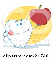 Royalty Free RF Clipart Illustration Of A Tooth Character Holding A Red Apple