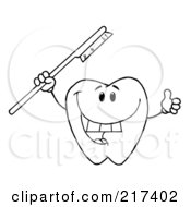 Royalty Free RF Clipart Illustration Of An Outlined Dental Tooth Character Holding A Red Tooth Brush And Thumbs Up