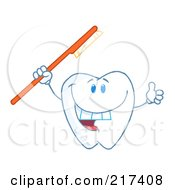 Royalty Free RF Clipart Illustration Of A Dental Tooth Character Holding A Red Tooth Brush And Thumbs Up