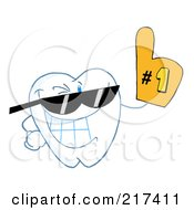 Royalty Free RF Clipart Illustration Of A Dental Tooth Character Wearing Shades And Wearing A Number One Fan Glove