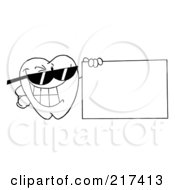 Royalty Free RF Clipart Illustration Of An Outlined Dental Tooth Character Wearing Shades And Holding A Blank Sign