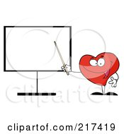 Heart Character Holding A Pointer Stick To A Board by Hit Toon