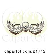 Clipart Illustration Of A Human Skull Spanning Feathered Wings And Flying In A Ball Of Fire On A White Background by Steve Klinkel #COLLC21742-0051