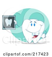 Royalty Free RF Clipart Illustration Of A Tooth Character Holding Up A Dental X Ray by Hit Toon