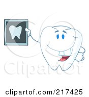 Royalty Free RF Clipart Illustration Of A Tooth Character Holding Up A Dental Xray by Hit Toon