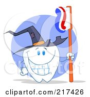 Royalty Free RF Clipart Illustration Of A Tooth Character Holding A Toothbrush And Wearing A Witch Hat by Hit Toon