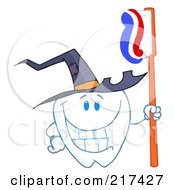 Royalty Free RF Clipart Illustration Of A Tooth Character Holding A Tooth Brush And Wearing A Witch Hat by Hit Toon
