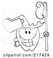 Royalty Free RF Clipart Illustration Of An Outlined Tooth Character Holding A Tooth Brush And Wearing A Witch Hat by Hit Toon