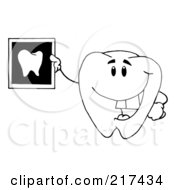 Royalty Free RF Clipart Illustration Of An OutlinedTooth Character Holding Up A Dental Xray by Hit Toon