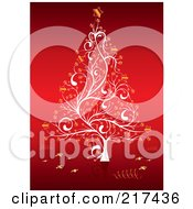 Royalty Free RF Clipart Illustration Of An Ornate White Christmas Tree With Golden Stars On Red by MilsiArt