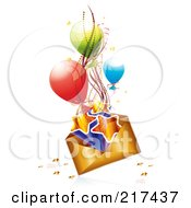 Royalty Free RF Clipart Illustration Of A Golden Birthday Envelope With Stars Ribbons And Balloons On White by MilsiArt