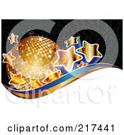Royalty Free RF Clipart Illustration Of Gradient Golden Stars By A Disco Ball Above White Gold And Blue Waves On Black by MilsiArt