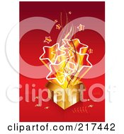 Royalty Free RF Clipart Illustration Of A Bursting Golden Gift Box With Stars On Red by MilsiArt