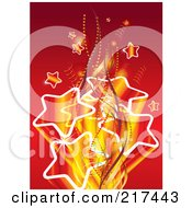 Royalty Free RF Clipart Illustration Of A Burst Of Gradient Stars With Ribbons And Waves On Red by MilsiArt