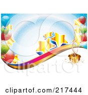 Royalty Free RF Clipart Illustration Of Golden Stars And Colorful Balloons By A Gift Box Over Blue And White by MilsiArt