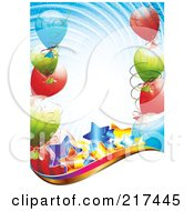 Royalty Free RF Clipart Illustration Of Shiny Stars With Balloons On Swirly Blue And A Wave Of White by MilsiArt
