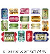 Royalty Free RF Clipart Illustration Of A Digital Collage Of Shiny Admit One Tickets by MilsiArt