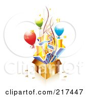 Royalty Free RF Clipart Illustration Of A Golden Birthday Gift Box With Balloons Ribbons And Stars by MilsiArt