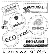 Digital Collage Of Black And White Bio Eco And Organic Stamp Designs