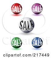 Royalty Free RF Clipart Illustration Of A Digital Collage Of 3d Colorful Sale Orbs With Shadows