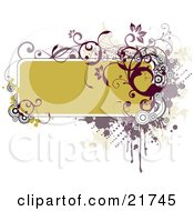 Clipart Picture Illustration Of A Green Yellow Text Box Bordered With Red And Purple Circles Vines Dots And Splatters Over A Green And White Background