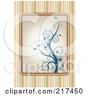 Royalty Free RF Clipart Illustration Of A Striped Background With A Blue Floral Vine