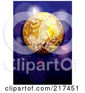 Royalty Free RF Clipart Illustration Of A Shiny Gold Disco Ball With Purple And Blue Sparkles