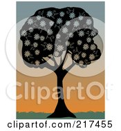 Royalty Free RF Clipart Illustration Of A Silhouetted Black Tree With White Spring Blossoms Against A Sunset by mheld