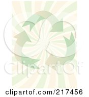 Royalty Free RF Clipart Illustration Of A Pastel Green Recycle Arrows Over Pink And Green Swirls by mheld