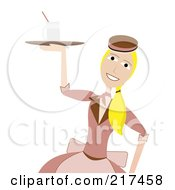 Royalty Free RF Clipart Illustration Of A 50s Styled Waitress Carrying A Drink On A Tray