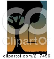 Royalty Free RF Clipart Illustration Of A Silhouetted Tree With A Swing Silhouetted At Sunset by mheld