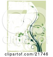 Clipart Picture Illustration Of A Growing Green Vine With Flowers And Leaves Curving Towards A Text Box On A Green And White Background