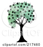 Royalty Free RF Clipart Illustration Of A Black Tree Trunk With Green Foliage And Black Spring Blossoms by mheld