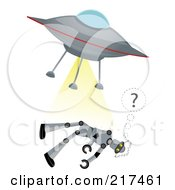 Royalty Free RF Clipart Illustration Of A Flying Saucer Beaming Up A Confused Robot by mheld