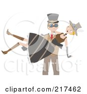 Royalty Free RF Clipart Illustration Of A Steampunk Man Carrying A Woman In His Arms by mheld