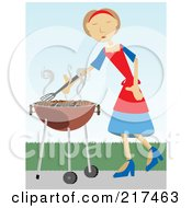 Royalty Free RF Clipart Illustration Of A Woman Cooking Beef Patties On A Bbq by mheld